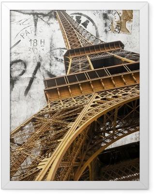 cartolina vintage della tour Eiffel Framed Poster