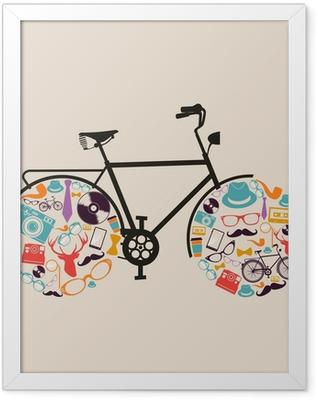 Vintage hipsters icons bike. Framed Poster