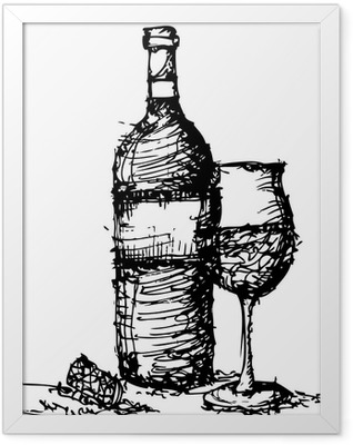 sketch drawing of wine bottle and glass Framed Poster