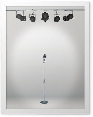 vintage microphone with spotlight Framed Poster