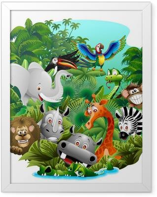 Wild Animals Cartoon on Jungle-Animali Selvaggi nella Giungla Framed Poster