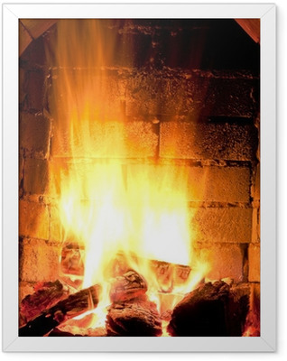 fire in fireplace Framed Poster