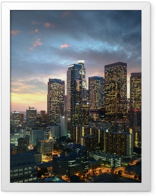 Los Angeles downtown at sunset, California Framed Poster