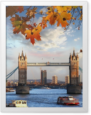 Tower Bridge with autumn leaves in London, England Framed Poster