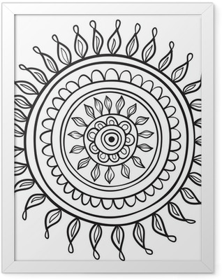 Mandala pattern black and white isolated in vector Framed Poster