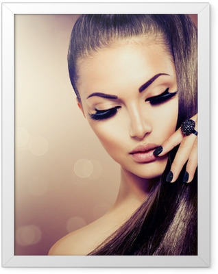 Beauty Fashion Model Girl with Long Healthy Brown Hair Framed Poster