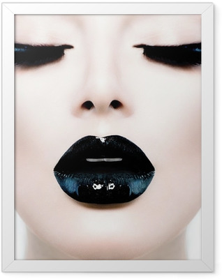 Fashion Beauty Model Girl with Black Make up and Long Lushes Framed Poster