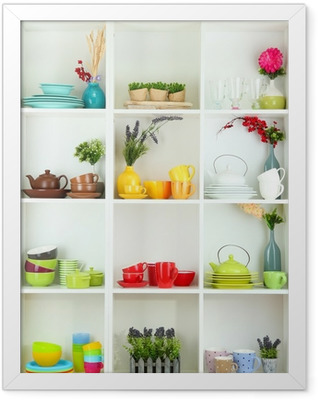 Beautiful white shelves with tableware and decor. Framed Poster