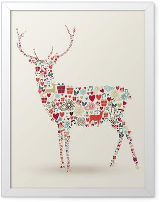 Christmas reindeer composition Framed Poster
