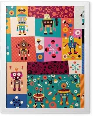 robots pattern Framed Poster