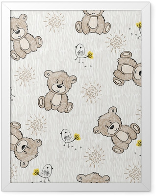 Cute hand draw seamless pattern for kids. Framed Poster