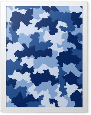 Blue camouflage seamless pattern Framed Poster