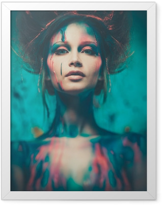 Young woman muse with creative body art and hairdo Framed Poster