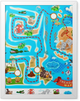 Pirate Treasure Map Framed Poster