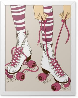 Illustration with female legs in retro roller skates Framed Poster
