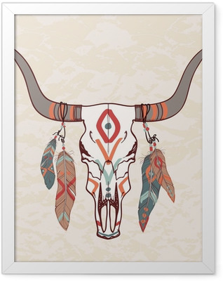Vector illustration of bull skull with feathers Framed Poster