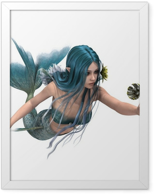 Blue Mermaid holding Sea Lily Framed Poster