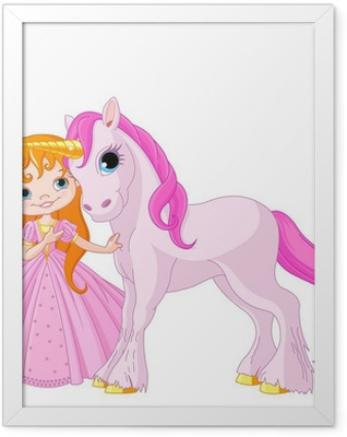 Cute Princess and Unicorn Framed Poster