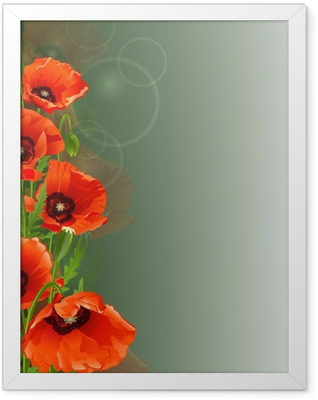Poppy background Framed Poster