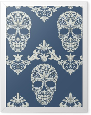 Skull Swirl Decorative Pattern Framed Poster
