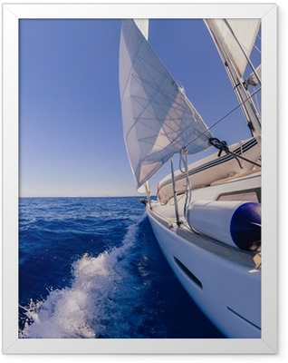 Sailing boat wide angle view in the sea Framed Poster