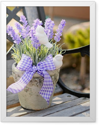 Lavender in the old pot on the bench. Home decoration. Framed Poster