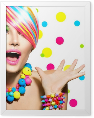 Beauty Portrait with Colorful Makeup Manicure and Hairstyle Framed Poster