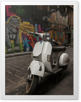 Vespa scooter parked in Hosier Lane, Melbourne Framed Poster
