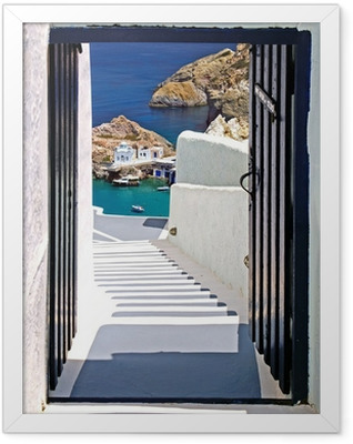Traditional architecture of Oia village on Santorini island, Gre Framed Poster