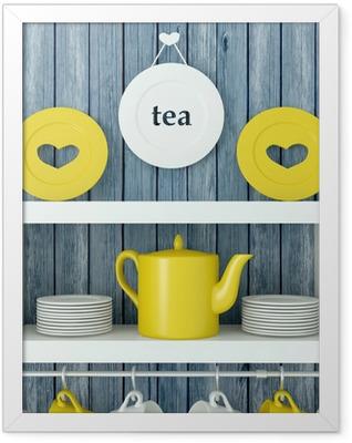 Ceramic kitchenware on the shelf. Framed Poster