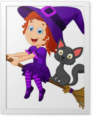 Cartoon young witch flying on her broom Framed Poster