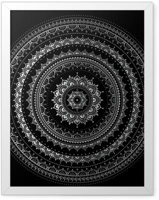 Silver mandala Framed Poster