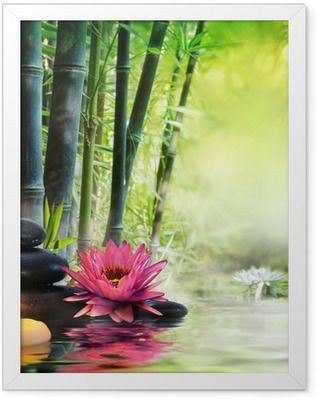 massage in nature - lily, stones, bamboo - zen concept Framed Poster