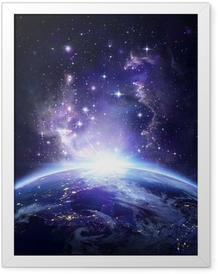 Earth view from space at night - USA Framed Poster