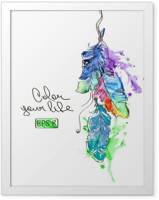 Illustration with watercolor feathers Framed Poster