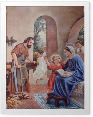 The fresco of Holy Family from village church Framed Poster