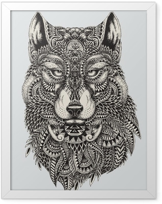 Highly detailed abstract wolf illustration Framed Poster