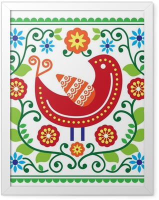 Folk art vector pattern with bird and flowers Framed Poster