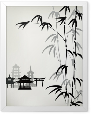 ink painted bamboo Framed Poster