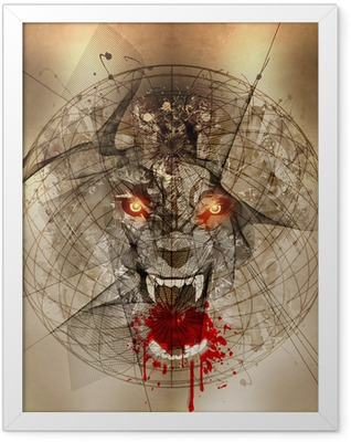злой волк Framed Poster