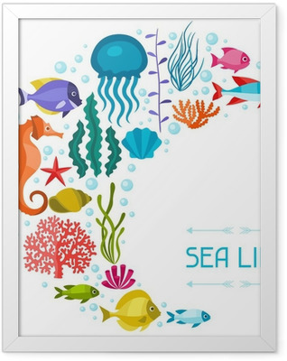 Marine life background design with sea animals. Framed Poster
