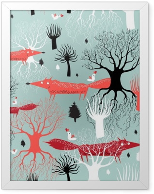 pattern trees and foxes Framed Poster