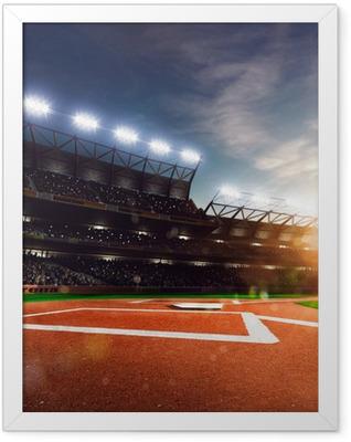 Professional baseball grand arena in sunlight Framed Poster