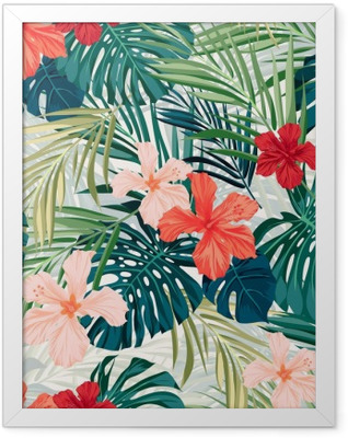 Bright colorful tropical seamless background with leaves and Framed Poster