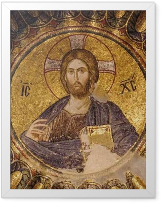 Mosaic of Christ Pantocrator in the south dome of the inner narthex of Chora church, Istanbul, Turkey. Framed Poster