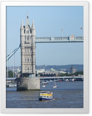 Tower bridge and tourist boats Framed Poster