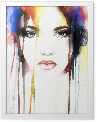 woman portrait .abstract watercolor Framed Poster
