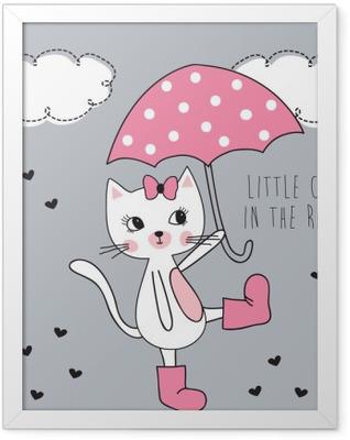 little cat in the rain vector illustration Framed Poster