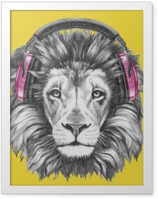 Portrait of Lion with headphones. Hand drawn illustration. Framed Poster