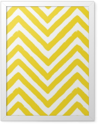 Vector Chevron Yellow Seamless Pattern Framed Poster